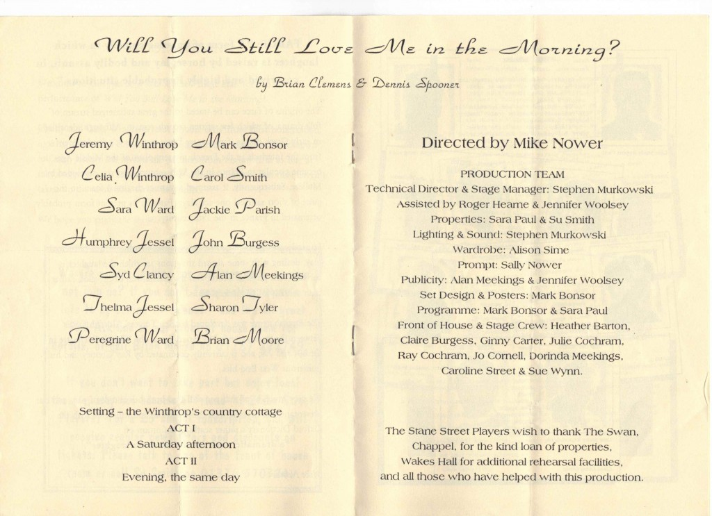 1996 – Will You Still Love Me in The Morning? – Farce